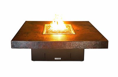 COOKE Hammered Copper Santa Barbara Rectangular Fire Pit Table - High End Low Profile Copper Gas Fire Pit