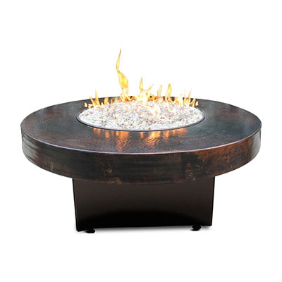 Ordinaire Fitted Hammered Copper 42 Round Oriflamme Fire Table Gas Fire Pit Table