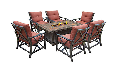 Oakland Living Vienna Gas Chat Set with Firepit Table - High End Rustic Fire Pit Table