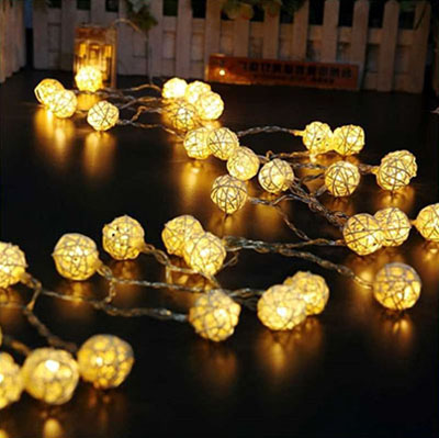 Goodia Globe Rattan Ball String Lights