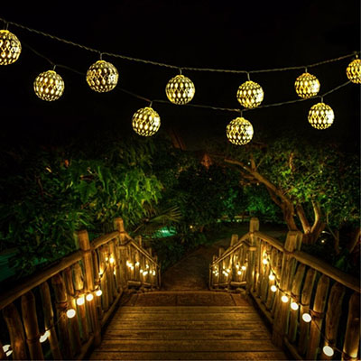 Goodia LED Silver Moroccan Lamp Globe String Lights