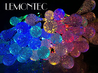 Lemontec 20 Feet 30 LED Water Drop Solar Fairy Lights
