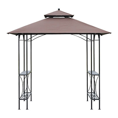 Outsunny 8' 2-Tier Outdoor BBQ Grill Gazebo w/ Bar Shelves