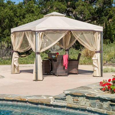 Top Choice, Sonoma Outdoor Iron Gazebo Canopy Umbrella w/ Net Drapery