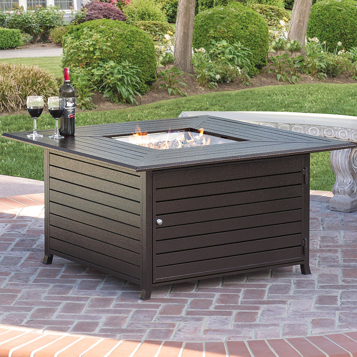 Best Choice Products BCP Extruded Aluminum - Gas Outdoor Fire Pit Table With Cover