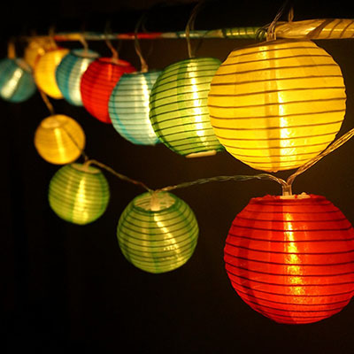 HQOON Globe String Lights with Mini Nylon Lantern, LED Fairy Decorative Lights