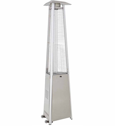 Golden Flame True Commercial Stainless Steel 3-Sided Pyramid Style Quartz Tube Patio Heater with Wheels