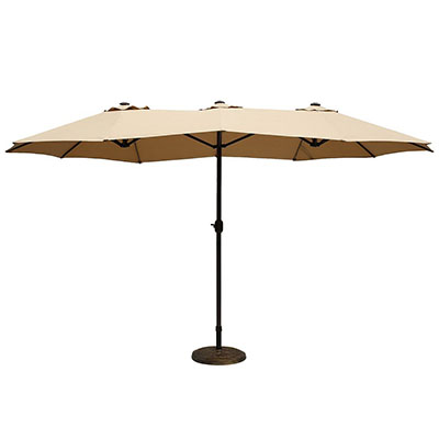 Le Papillon 14 ft Outdoor Umbrella Double-Sided Aluminum Market Patio Umbrella