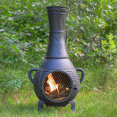 The Blue Rooster Co. Pine Style Cast Aluminum Wood Burning Chiminea, outdoor chiminea