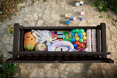 Keter Eden Outdoor Patio Storage Bench, pool storage bench