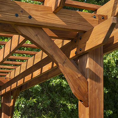 the Backyard Discovery Cedar Pergola is among the best backyard gazebos.  Perfect for a backyard - Best Wood Pergola Kits For Your Backyard Patio - OutdoorMancave.com