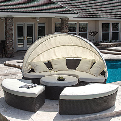 Great Deal Furniture Bellagio 4-piece Outdoor Daybed Sectional Set