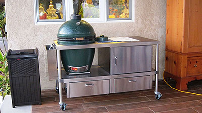 Castle Stove Ceramic Grill Table an professional quality stainless steel big green egg table.