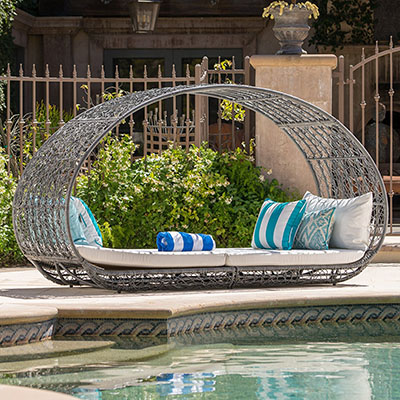 GDF Studio Bedford Outdoor Wicker Overhead Canopy Daybed