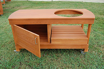 J S Designs Shop, LLC Big Green Egg Cabinet Table, a big green egg table with a ton of storage.