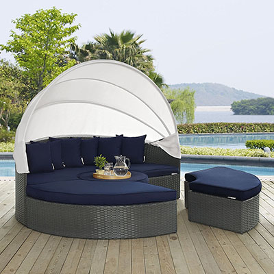 Modway Sojourn Outdoor Patio Sectional Daybed with Canopy