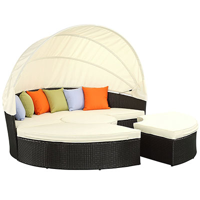 Modway Quest Circular Outdoor Wicker Rattan Patio Daybed
