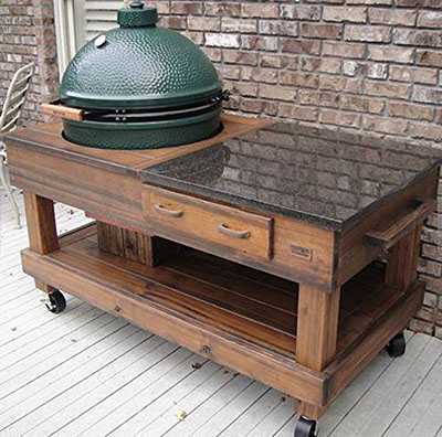 mr2Woodworking Tables Cypress with Drawer, a wonderful custom big green egg table.