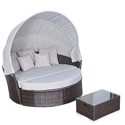 Yoto Rattan Victoria Outdoor Wicker Rattan Patio Daybed With Canopy