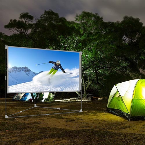 JaeilPLM 100-Inch Wrinkle-Free Portable Outdoor Projection Screen