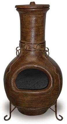 Fired Up Designs 43-inch Iron Clad Clay Chiminea, high end chiminea