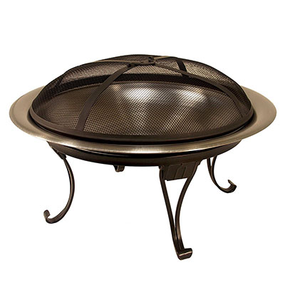 """Cataline Creations 26"""" Heavy Duty Portable Folding Stainless Steel Fire Pit"""