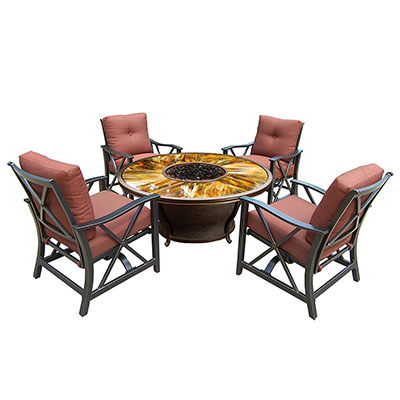 Oakland Living Moonlight Round Gas Firepit Table - Unique Luxury High End Fire Pit Table