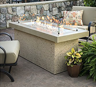 Outdoor Great Room Key Largo Crystal Fire Pit - High End Fire Pit with Large Burner