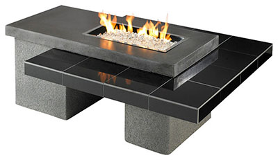 Outdoor Greatroom Uptown Black Gas Fire Pit - High End Modern Fire Pit