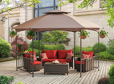 Runner Up, Sunjoy D-GZ076PST-D Madison Pavilion Hex Shape Soft Top Gazebo with Serving Shelf