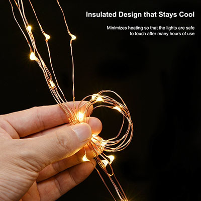ALPULON 33ft LED String Lights Dimmable with Remote Control