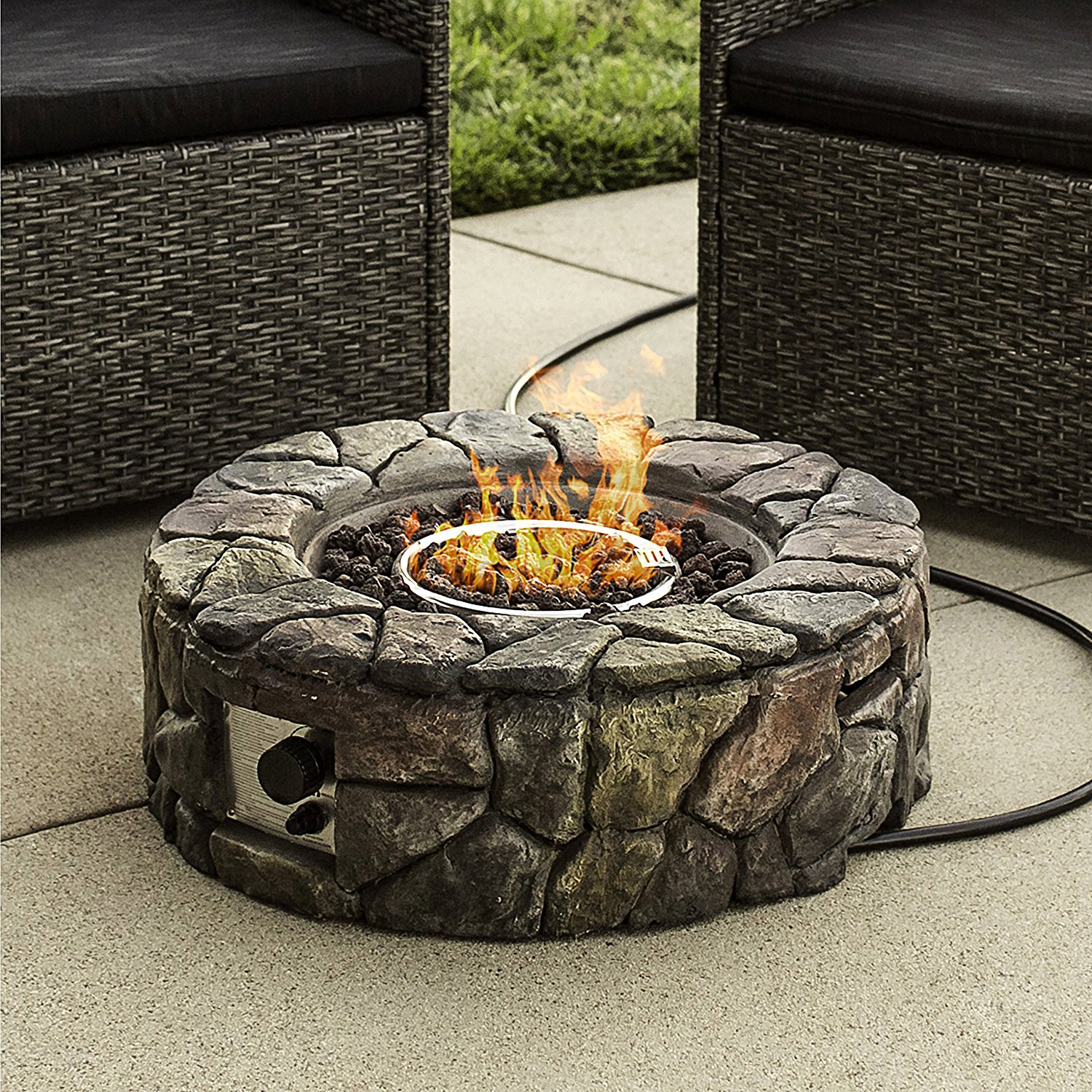 Best Choice Products Stone Design Fire Pit - Outdoor Home Patio Gas Firepit