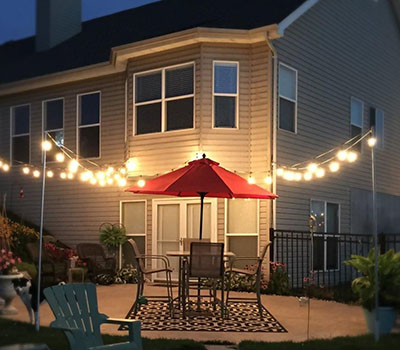 Brightech Ambience Pro Commercial Grade Outdoor Light Strand with Hanging Sockets