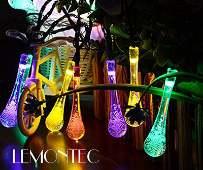Lemontec Solar Strings Lights, 20 Feet 30 LED Water Drop Solar Fairy Lights
