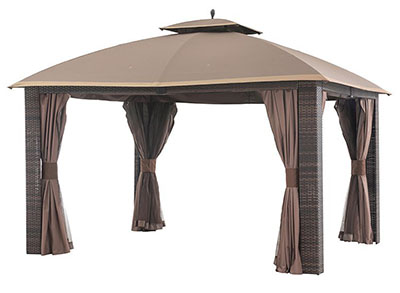 Sunjoy L-GZ815PST 12' x 10' Sonoma Wicker Gazebo, Large