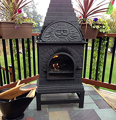 The Blue Rooster Co. Casita Style Chiminea, cast iron chiminea