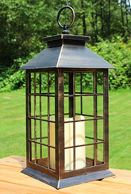 """The Vivid Volts 13"""" Country Style Rustic Lantern with Flickering Flameless LED Candle is as rustic lantern with modern day materials"""
