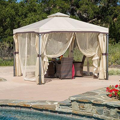 As one of the best canvas gazebos the Sonoma Outdoor Iron Gazebo Canopy Umbrella is an incredible addition to any backyard patio