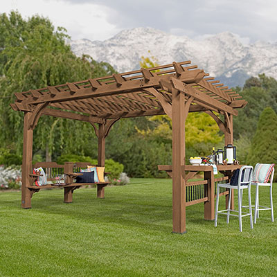 The Backyard Discovery Oasis Pergola is a high end pergola that is perfect for large backyards or patios