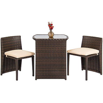 Best Choice Products Outdoor Patio Furniture Wicker 3pc Bistro Set W/ Glass Top Table