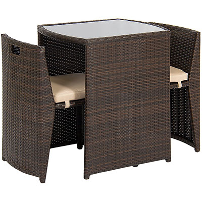 Best Choice Products Outdoor Wicker 3pc Bistro Set W/ Glass Top Table