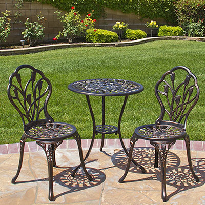 Best Choice Products Tulip Design Cast Aluminum 3 Piece Bistro Set in Antique Copper