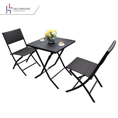 H&L Patio Resin Rattan Steel Folding Bistro Set - brown bistro set