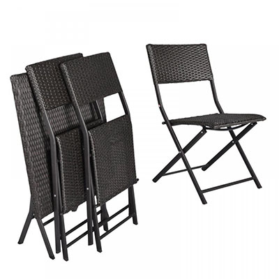 H&L Patio Resin Rattan Steel Folding Bistro Set