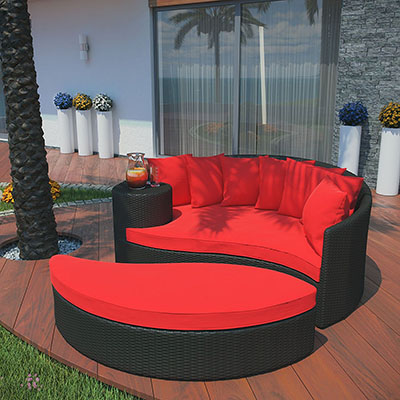 Modway Taiji Outdoor Wicker Patio Daybed with Ottoman