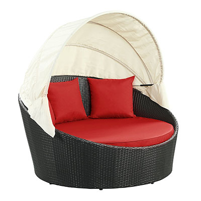 Modway Siesta Outdoor Wicker Patio Espresso Canopy Bed