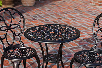 Patio Sense 3-Piece Antique Bronze Cast Aluminum Bistro Set - accent bistro set