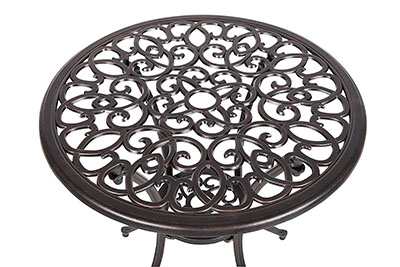 Patio Sense Aluminum Bistro Set Scrollwork Table