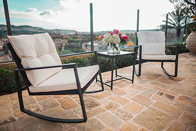 Suncrown Outdoor 3-Piece Rocking Wicker Bistro Set - modern bistro set