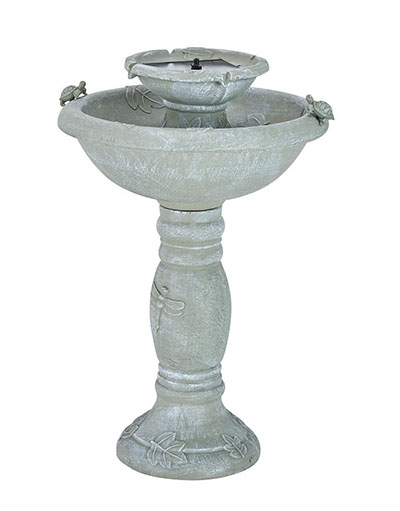 Smart Solar Gray Weathered Stone Country Gardens 2-Tier Solar-On-Demand Fountain